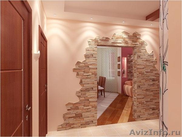 Дизайн арки декоративным камнем